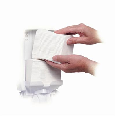 2 packs of white tissue stacked vertically on top of each other