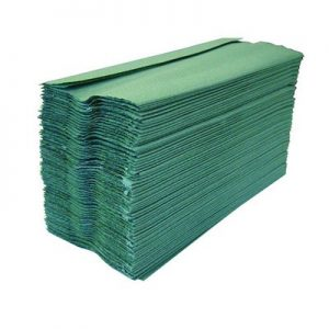 A stack of green C fold hand towels