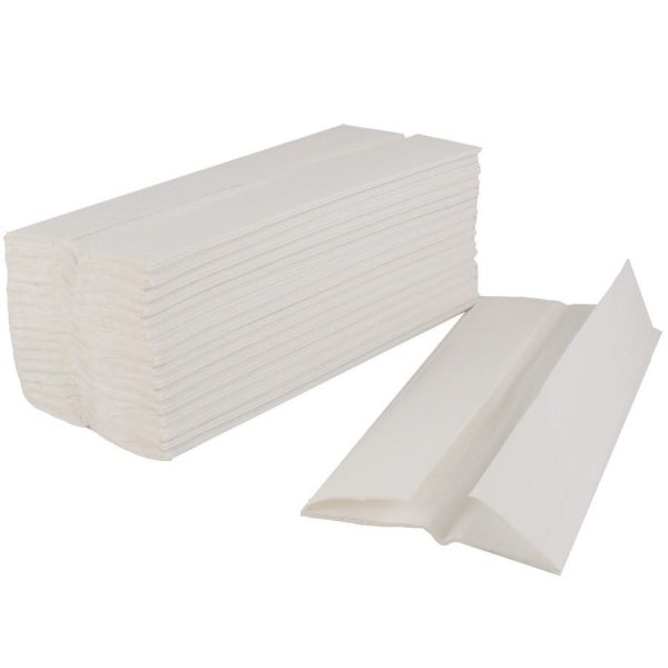 A stack of white tissue with one C-fold tissue laying to the right