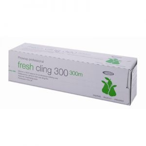 White box with green writing containing 300m by 30cm of cling film