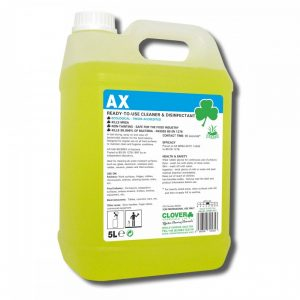 5 litre bottle of yellow bactericidal cleaner disinfectant