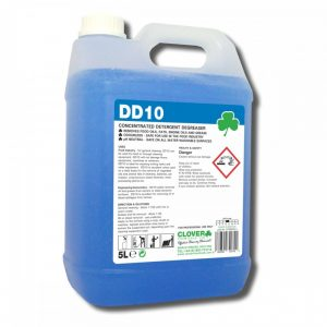 5 litre container with a handle of thin, blue liquid