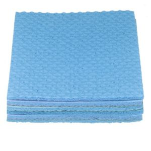 A stack of 4 blue cleaning cloths