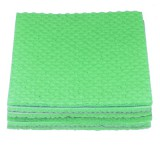 A stack of 4 green, textured cleaning cloths