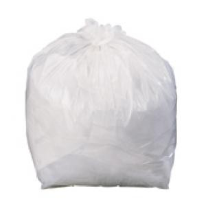 A white bin bag tided at the top with a knot