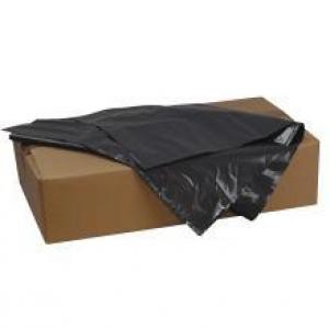 A brown box with black bin bags inside