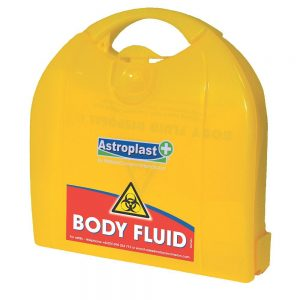 Yellow, plastic Astroplast case containing a body fluids kit