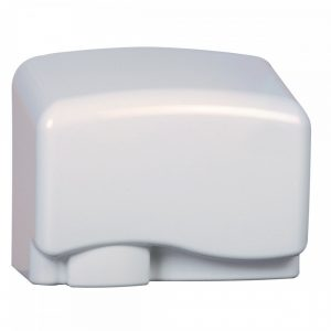 Square, white hand dryer