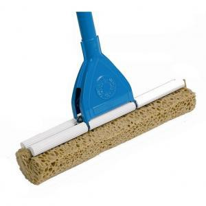A sponge mop with a brown sponge and blue handle