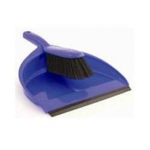 A blue plastic dust pan and brush set with black bristles