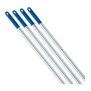 Aluminium broom handle with a blue plastic end