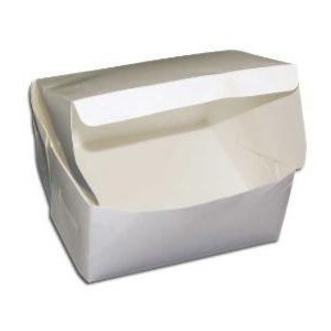 White cake box with folded lid and sides