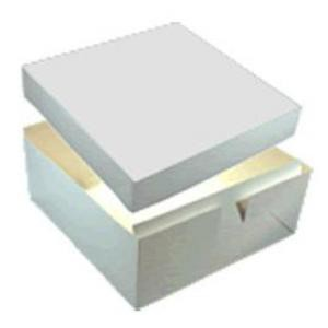 White folded cake box with separate lid