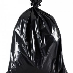 Black bin bag tied at the top in a knot