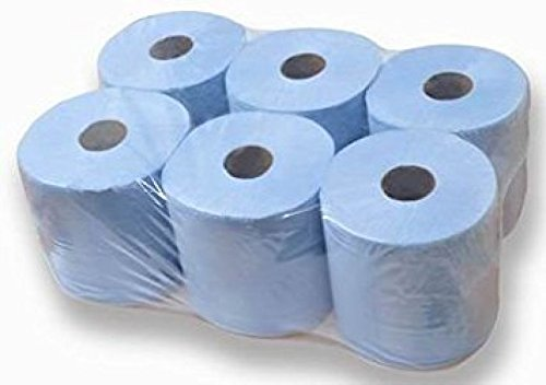 Pack of 6 blue tissue rolls, wrapped in plastic